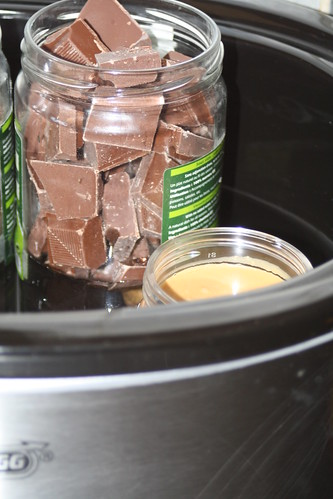 chocolate-and-peanut-butter-melting-in-the-crock-pot_17936824413_o