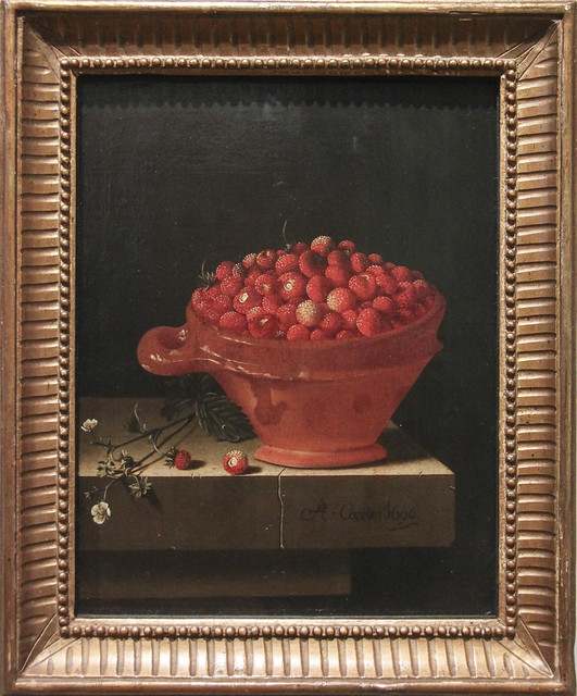 A Bowl of Strawberries on a Stone Plinth, Adriaen Coorte, c.1696
