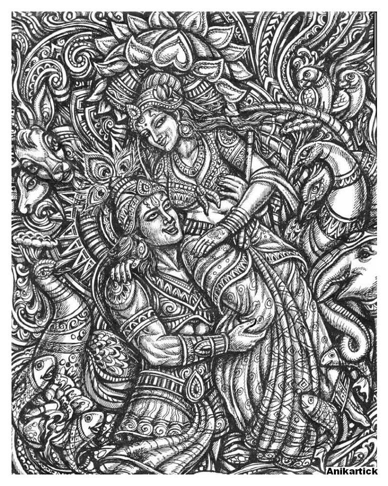 Amazon.com: Ebros Vedic Radha And Krishna Statue 8Tall