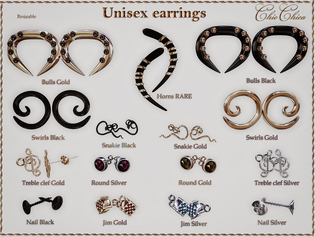Unisex earrings Gacha by ChicChica OUT @ Gen Neutral