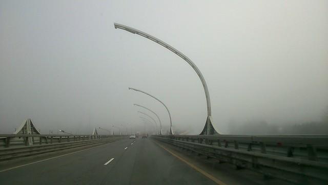Утренний туман на съезде с ЗСД // Morning fog