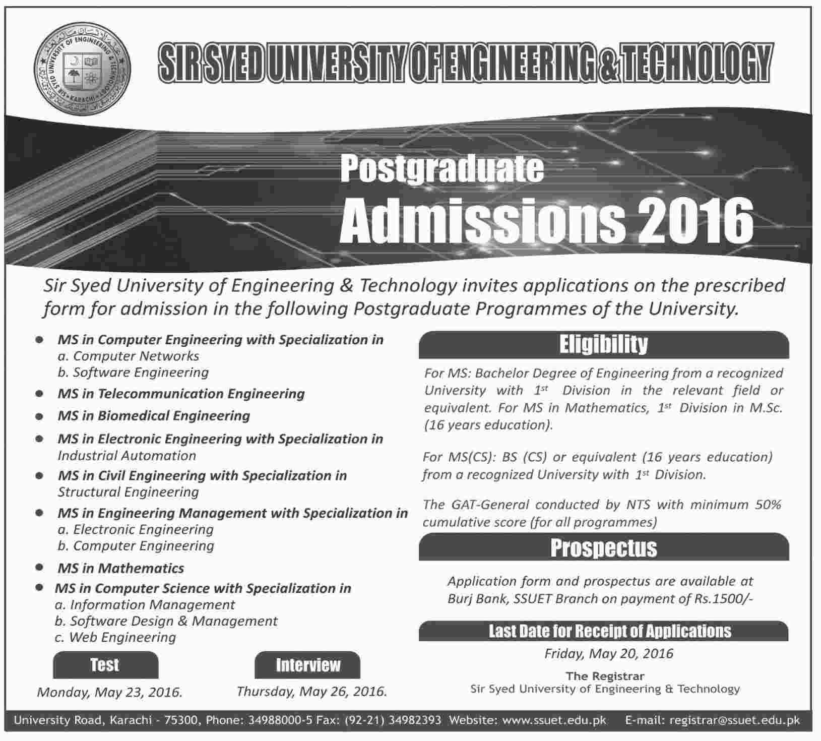 Sir Syed University of Engineering and Technology Post Graduate Admissions 2016