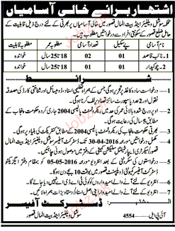 NAIB QASID AND CHAWKIDARS JOB 2016