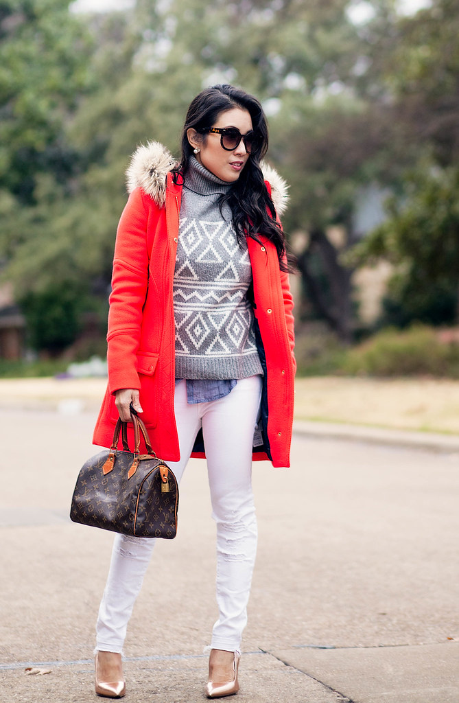 cute & little blog | petite fashion | j.crew chateau electric red parka, grey fair isle sweater, white jeans, chambray shirt, lv speedy 25 | winter outfit