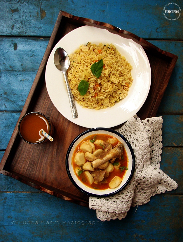 Arbi-Gossht ka Khatta Salan/Taro Root and Mutton in Tamarind Gravy