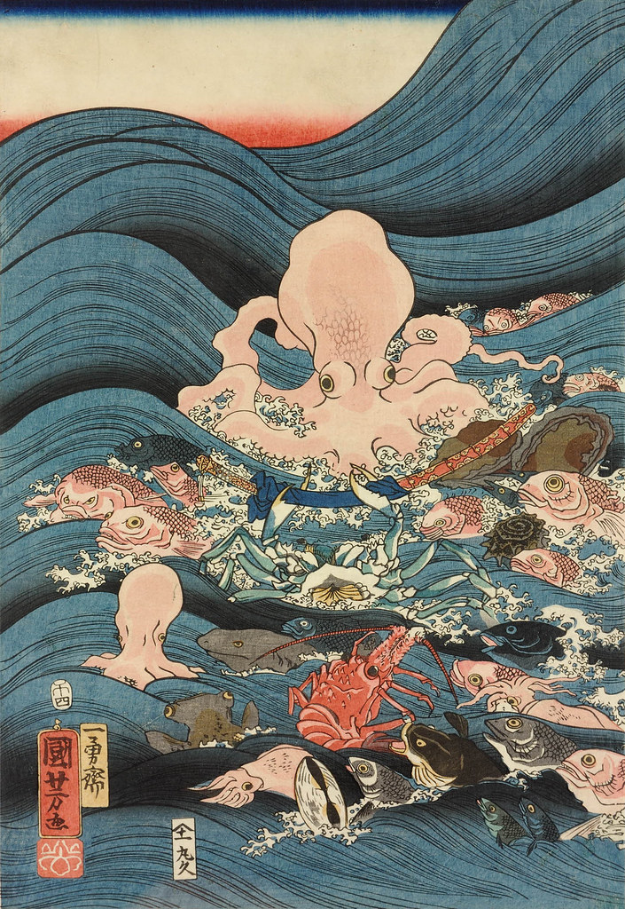 Utagawa Kuniyoshi - Tawara Toda Hidesato escorted through the waves on the back of a giant turtle by the Dragon King's fishy retainers, having received the Three Gifts. 1858 (left panel)