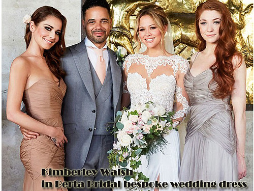 Kimberley Walsh in Berta Bridal bespoke wedding dress