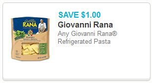 New Giovanni Rana Coupons: Fresh Pasta and Sauce as low as
