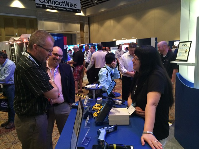 Ye showing off test equipment at BICSI