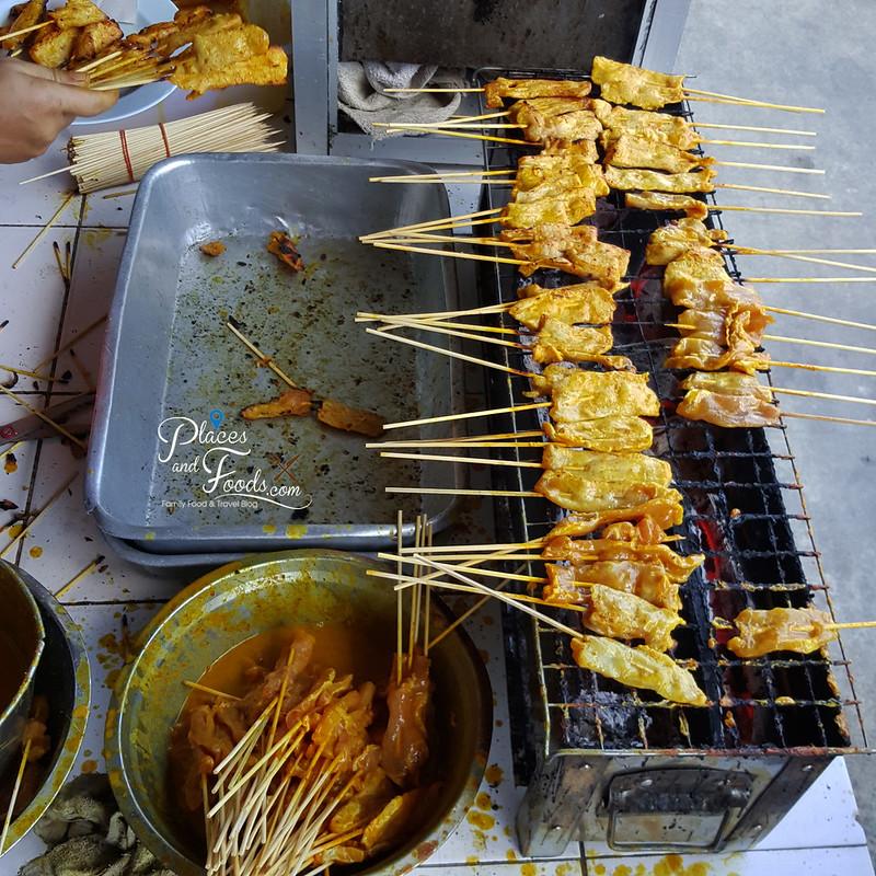 Khao Soi Samer Jai thaksin pork satay burning
