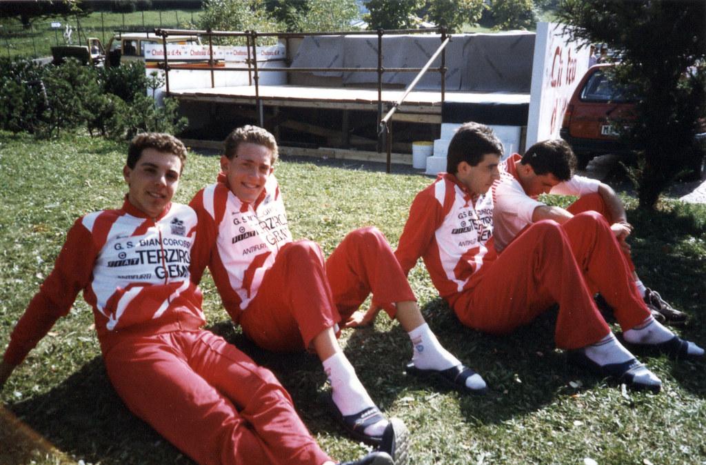 da sinistra Riccio Luigi, Stefano  Zanini, Davide Mantovani, Stefano Manfro, momenti di relax dopo gara