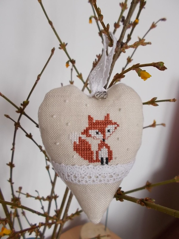 cross stitch, fox, keresztszem, róka, szív, heart