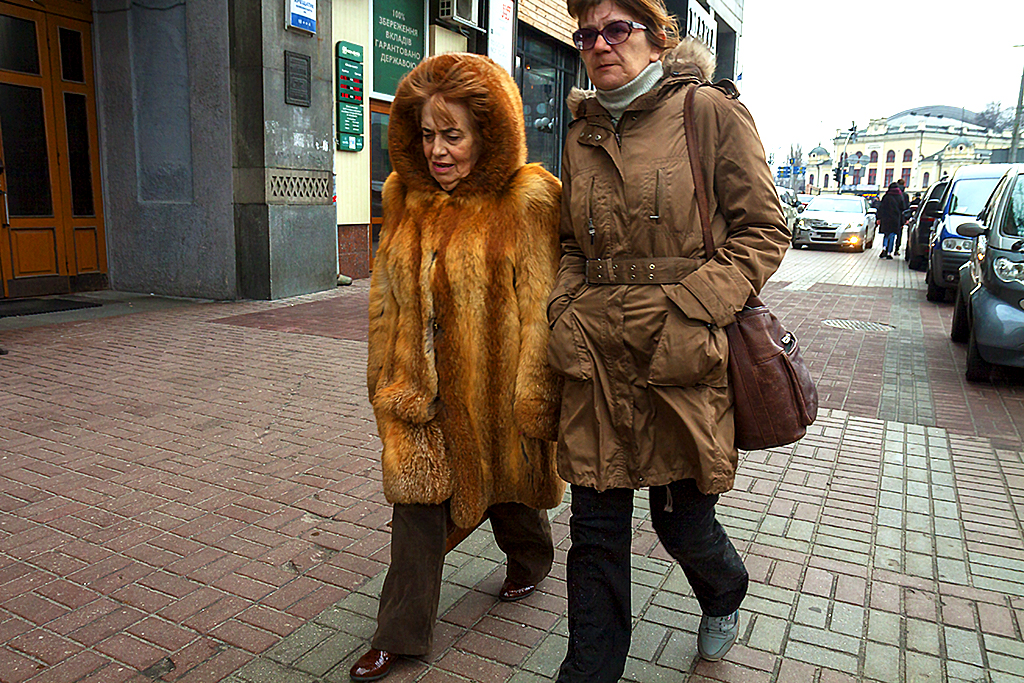 Two woman on Khreshchatyk Street--Kiev