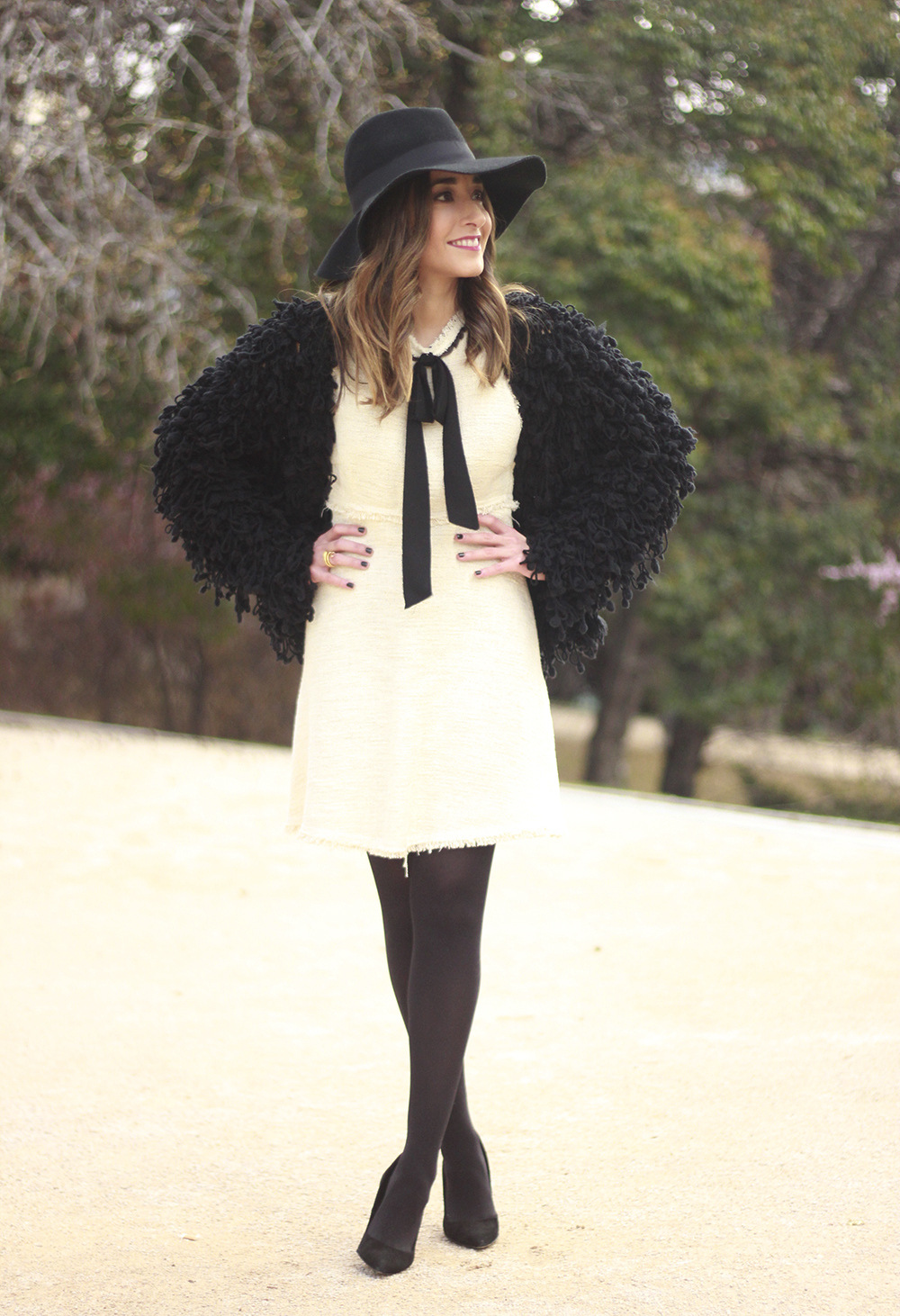 White tweed dress with bow black jacket hat outfit14
