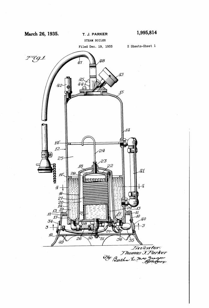 Patent No. 1995814A: Steam Boiler - Brookston Beer Bulletin