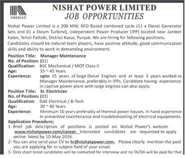 Nishat Power Limited Manager Maintenance Required