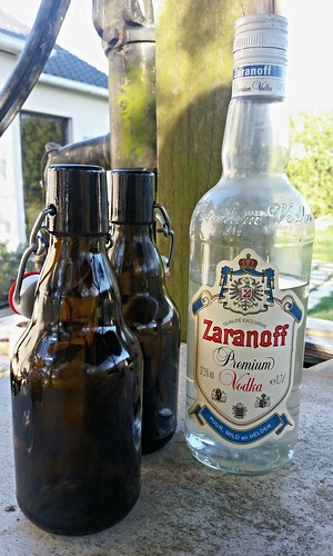 Pressure cap beer bottles and cheap vodka