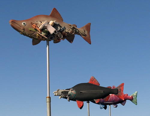 Some salmon sculptures in La Conner, Washington