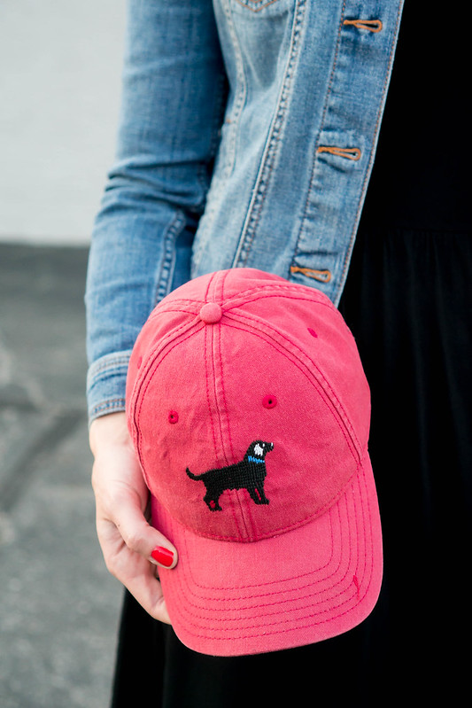 jean jacket Target + black Old Navy dress + sneakers + dog hat | Style On Target
