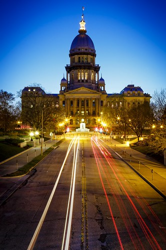 Notley Hawkins Photography, Downtown Springfield Illinois, Illinois Sate Capitol, Sangamon County Illinois, architecture, Blue Hour, nocturne, Light Trails, Illinois Photography, Springfield Illinois Photo, http://www.notleyhawkins.com/
