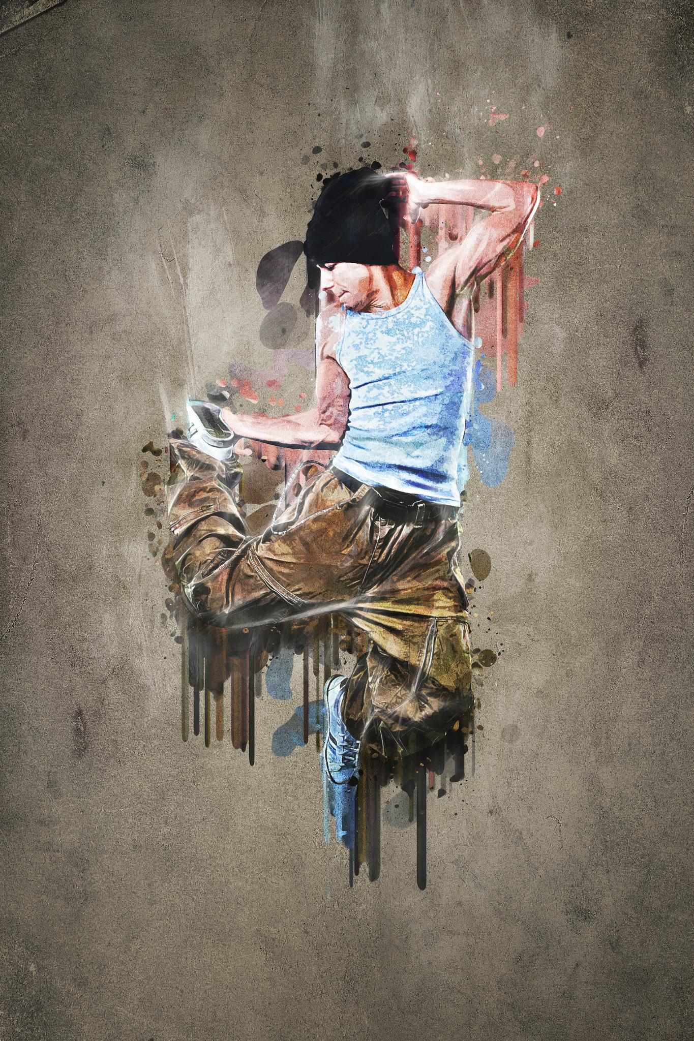 painted break dancer