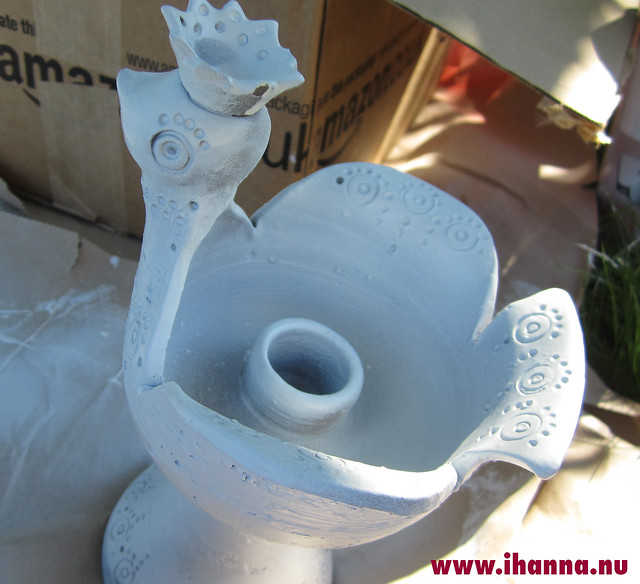 Ceramic bird spray painted white by iHanna