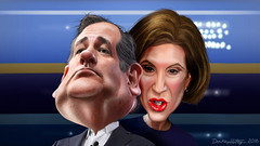 Ted Cruz and Carly Fiorina - Caricatures