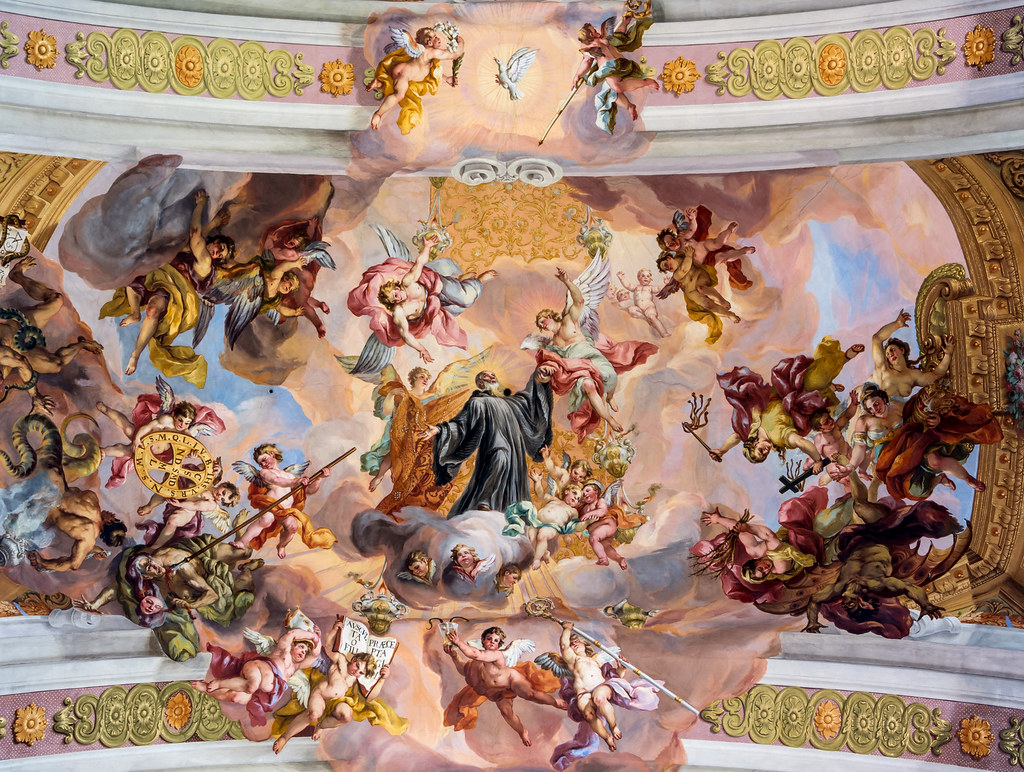 Ceiling fresco in the central arch of the nave at Melk Abbey Church by Johann Michael Rottmayr (1722) Via triumphalis of St. Benedict. Credit Uoaei1