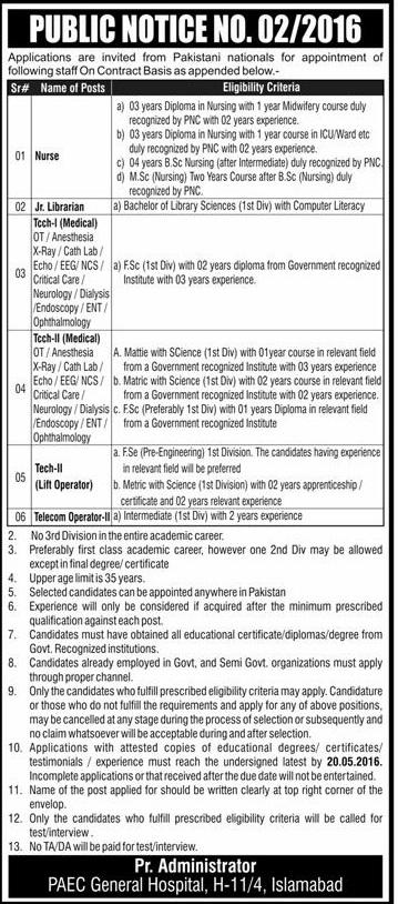 Pakistan Atomic Commission Hospital Jobs Adv-2