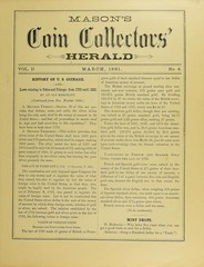 Masons Coin Collectors Herald March 1881 cover