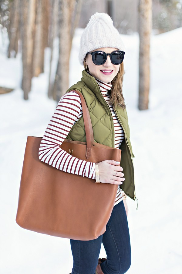 Stripe turtleneck + Excursion vest + Madewell Transport Tote