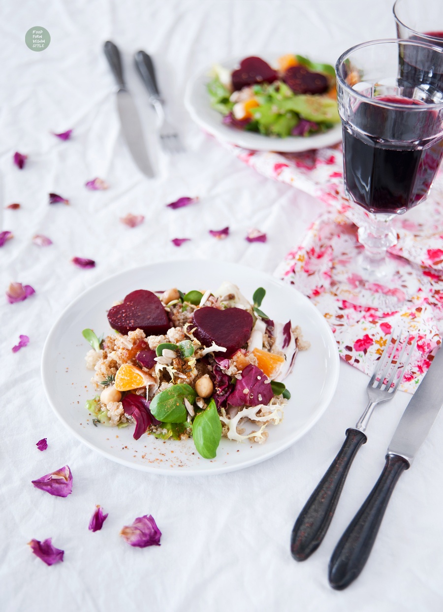 Vegan Valentine's day salad with roasted beetroot hearts, quinoa and a carob-balsamic dressing