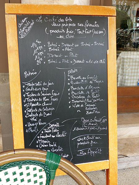 menu du Café des Arts