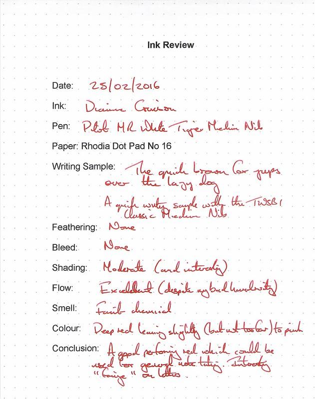 Diamine Crimson - Rhodia Dot Pad