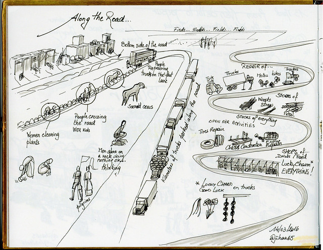 Sketchnotes from India - Along the road