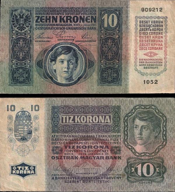 10 Kronen Rakúsko-Uhorsko 1915, P19 VF