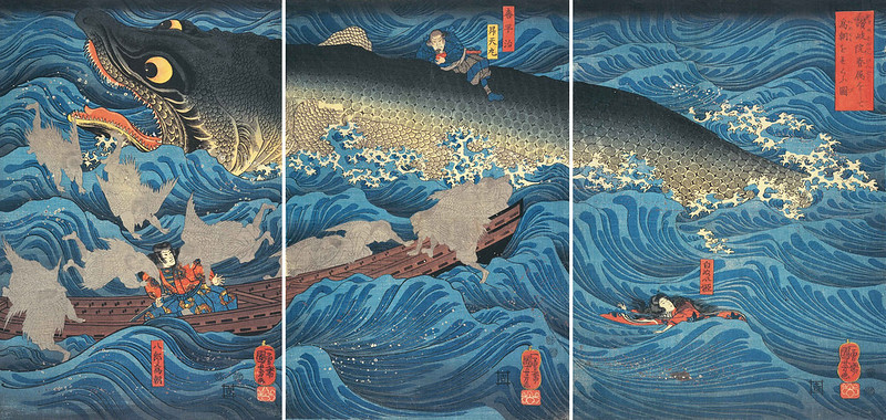 Utagawa Kuniyoshi - Retired Emperor Sanuki Sends Allies to Rescue Tametomo, Edo Period