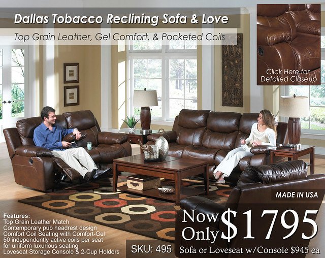 Dallas Tobacco Reclining Sofa and Love