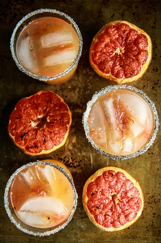 Roasted Grapefruit Margaritas with Smoked Sea Salt from HeatherChristo.com