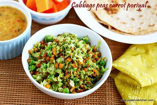 Cabbage carrot peas poriyal