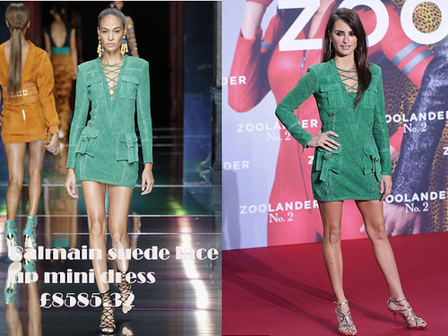 Penelope Cruz in a green Balmain suede lace up mini dress