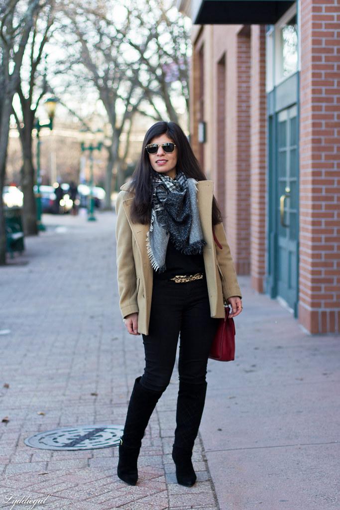 black sweater, camel coat, red coach bag, black boots-2.jpg