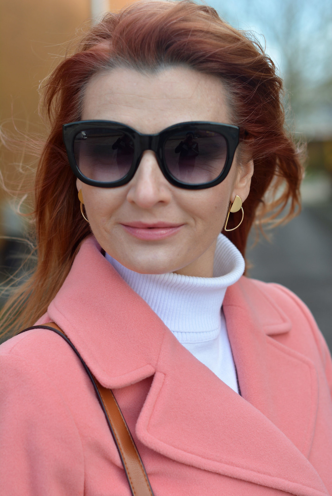 Winter style: Peach coat with white roll neck | Not Dressed As Lamb