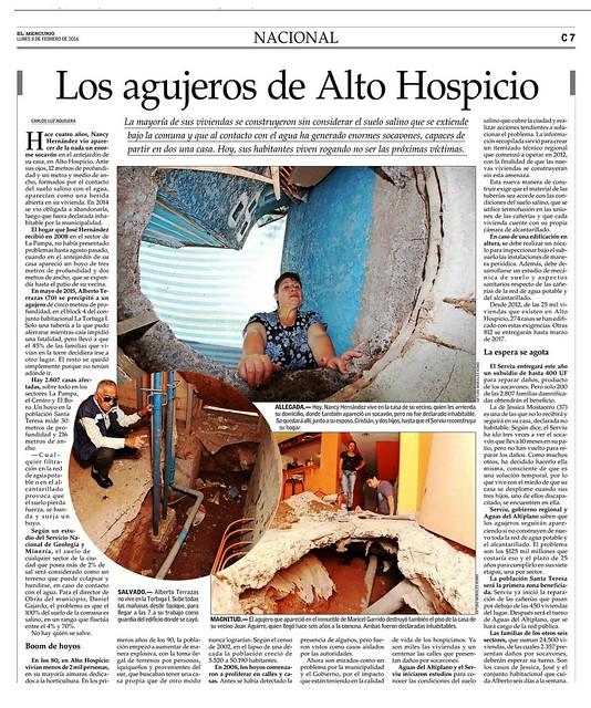 Nota sobre suelos salinos en Alto Hospicio, sustentada en informe técnico del Sernageomin  (8 de febrero de 2016, diario El Mercurio)