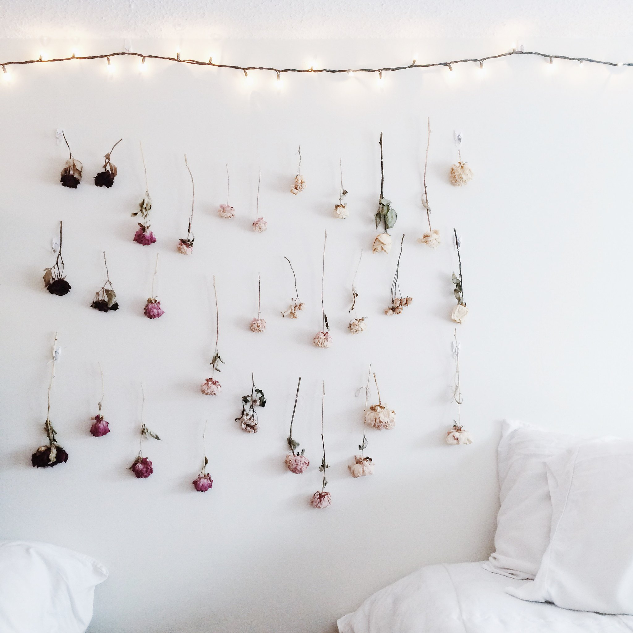 Diy ombre dried flower wall juliette laura - Flower wall designs for a bedroom ...