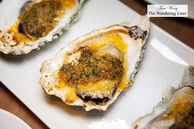 Grilled 'Fanny Bay' Jumbo Oysters with Cajun butter sauce