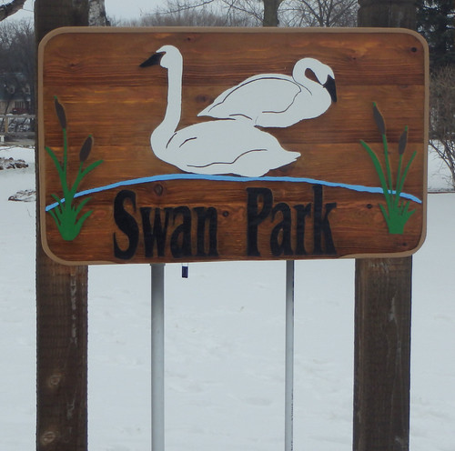 wooden park sign with two swans, two cattails, and the words Swan Park