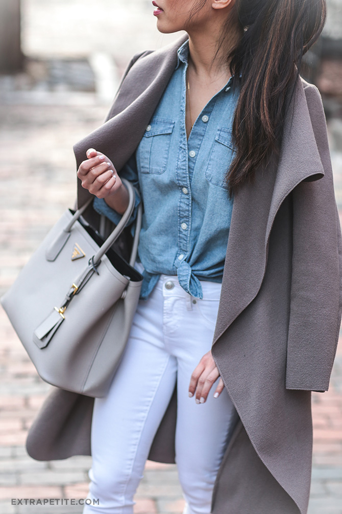 white gray chambray shirt prada saffiano cuir bag outfit