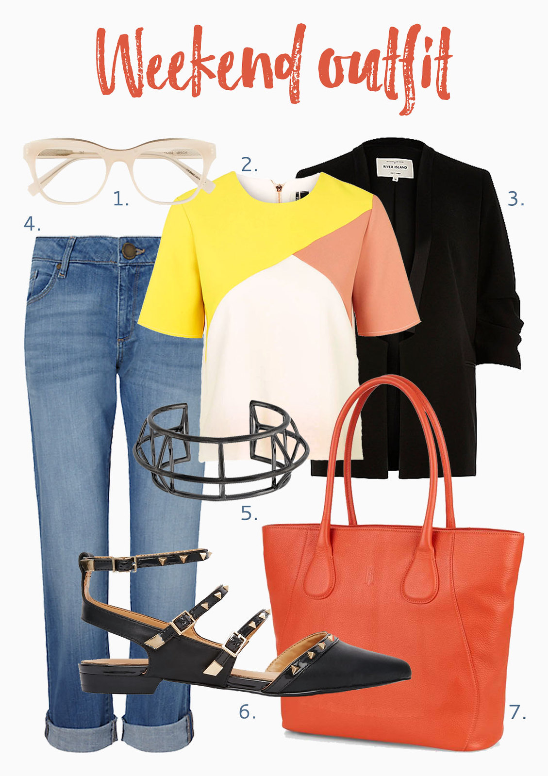 How to Style an Orange Tote Bag | Weekend outfit