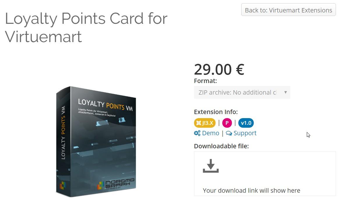 Loyalty Points Card for Virtuemart – loyalty program for Joomla